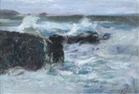 a rough sea breaking on the rocks by julius olsson