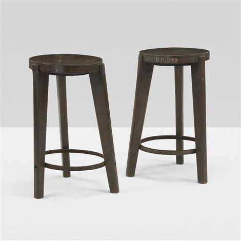 stools from punjab university chandigarh pair by pierre jeanneret