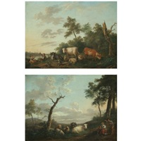 a landscape with peasants and their herd resting near a river (+ a landscape with shepherds and a child resting together with their herd; pair) by franciscus xavery