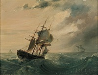 ship in rough seas with approaching storm by continental school