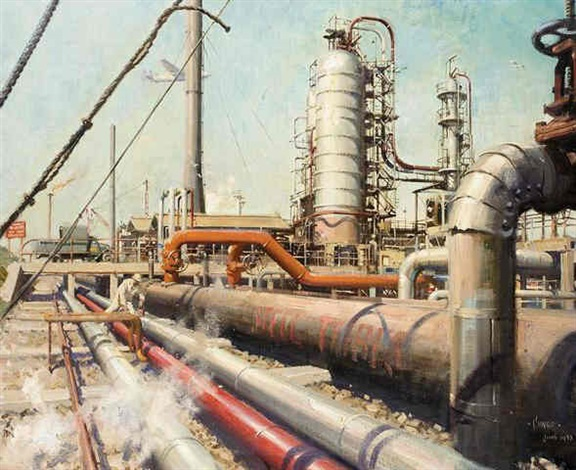 coryton oil refinery by terence cuneo