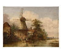 riverside windmill by george vincent