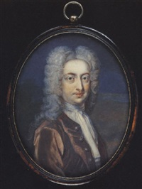 a gentleman wearing a brown coat, white jabot and full bottomed powdered wig by benjamin arlaud