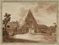 die cestius-pyramide in rom by friedrich christian reinermann