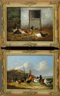 basse-cour et paysage poules et coq (2 works) by frans van leemputten