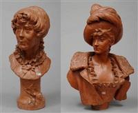 buste de jeune fille (+ buste de jeune femme au chapeau à plumes, lrgr; 2 works) by louis samain