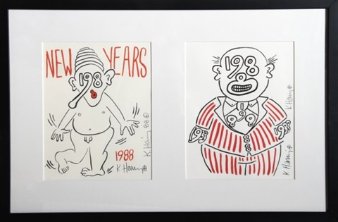 new years invitation 2 works by keith haring