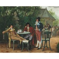 bored officers at a tea party by charles louis kratke