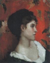 porträt einer jungen dame vor roter tapete by francesco saverio altamura