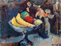 stilleven met fruitschaal en bloemen by kees verwey