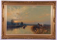 broads scene with horses at sunset by peter metcalf