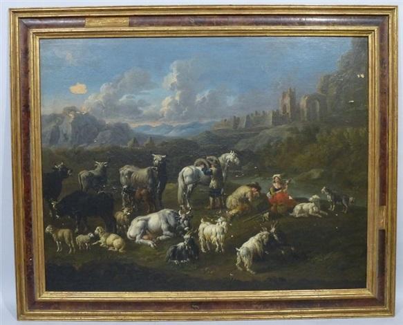repos des bergers et de leur troupeau dans un paysage by philipp peter roos