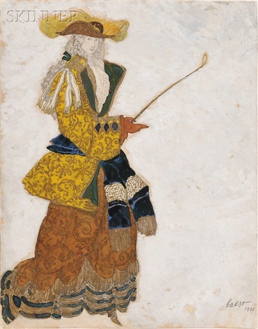 costume design for the marchioness (hunting) in the sleeping beauty by leon bakst