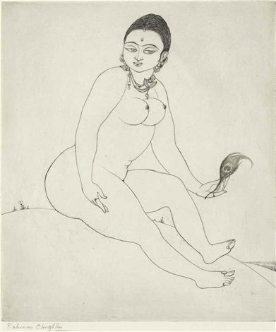 untitled seated nude by abdur rahman chughtai
