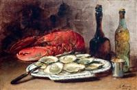 stilleven met schaal oesters en kreeft / nature morte au homard et plateau d'huîtres by guillaume romain fouace