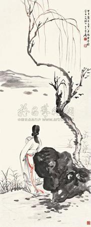 倚石望江图 by zhang daqian