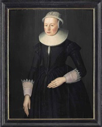 portrait of a lady, three-quarter-length, in an embroidered black dress, a ruff, lace cuffs and headdress by anglo-dutch school (17)