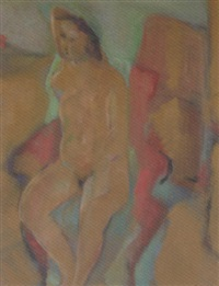 nude in red chair by rose hilton
