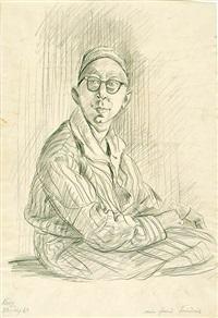 gerhardpaul friedrich, sitzend (+ kay friedrich, sitzend, smaller; 2 works) by hans körnig