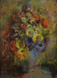 bouquet de fleurs au vase pourpre by suzanne kaehrling
