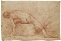 a reclining male nude by francesco (cecco bravo) montelatici