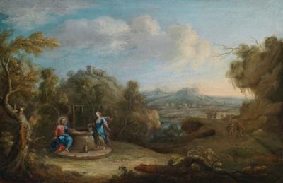 christus und die samariterin am brunnen ruhe auf der flucht nach ägypten pair by nicola viso