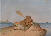 gestrandeter fischer auf einer felseninsel by joseph heicke
