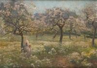 travaux de couture sous le cerisier by jenö karpathy