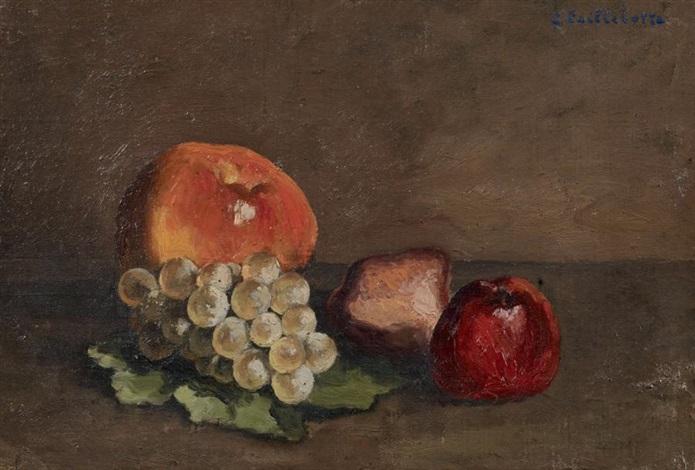 nature morte pêches pommes et raisins sur une feuille de vigne by gustave caillebotte