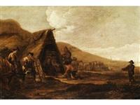 hügellandschaft mit strohhütte und figurenstaffage by cornelis de bie