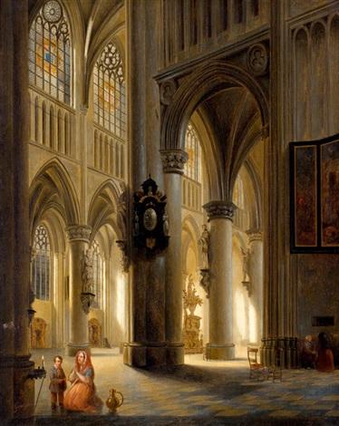 figuren in gotische kerk mogelijk de sint goedele kathedraal te brussel by jules victor genisson