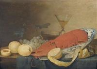 stillleben mit hummer und früchten by pieter van overschee