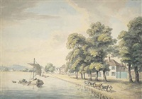 a figure leading horses pulling a barge along a river, possibly hammersmith mall, london by william samuel howitt