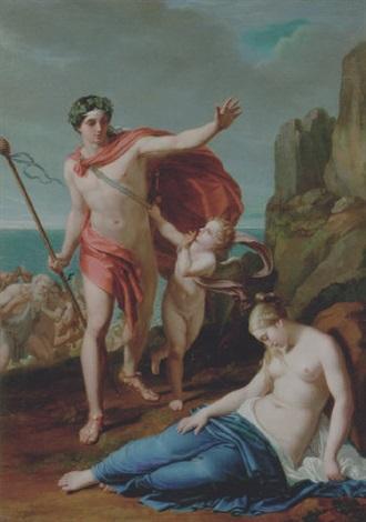 allegorik sceneri med lystigt selskab med bacchus i spidsen der går i land by pietro benvenuti