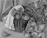 stilleben mit tomaten und zwiebeln in einem flechtkorb by m. thaon d' arnoldi