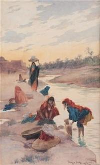 femmes lavant à la rivière de gabès by george bertin scott