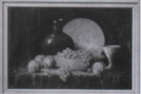 still life with grapes in a bowl, peaches and dishes by leonard woodruff