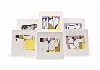 bull profile (set of 6) by roy lichtenstein