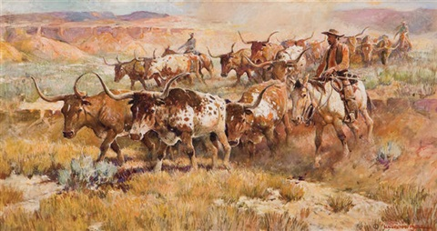 Texas Longhorn Cattle Drive By Nick Eggenhofer On Artnet