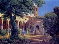 promenade dans les jardins de la mosquée by adolf karol sandoz