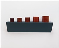 untitled (5 burmese lacquerware containers) by haim steinbach