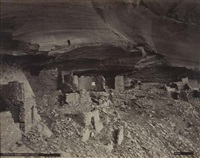 ruins in mummy cave cavern (+ the jemez ruins; 2 works) by john k. hillers