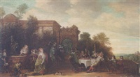 an elegant company feasting before a set of classical ruins by johann hulsmann