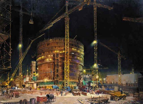 sizewell at night by terence cuneo