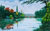rivière avec pêcheurs by camille bombois