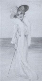 junge dame in langem kleid, großem hut und gehstock am strand by margarete simrock-michael