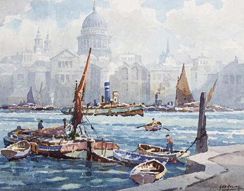view of st pauls from across the thames by george ayling