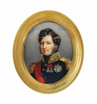 louis philippe i (1773-1850), king of the french, in black coat with gold embroidered oak leaf collar and gold epaulettes, wearing the red moiré sash by francois meuret