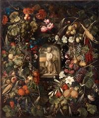 stilleben med exotiska frukter, blommor och insekter kring en nisch med en stående putti by ottmar elliger the elder