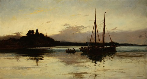 moored sailboats at sunset by walter stuart lloyd